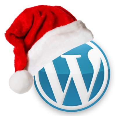 WordPress logo with a Christmas hat